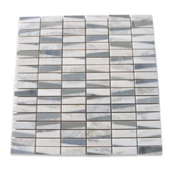 "Pier Ski Slope Marble Tile - Pier Ski Slope Marble Tile This marble mosaic will provide endless design possibilities from contemporary to classic. It creates a great focal point to suit a variety of settings. The mesh backing not only simplifies installation, it also allows the tiles to be separated which adds to their design flexibility. The natural material will have a color variation. . Chip Size: 1/2""x2"" Color: Blue-Gray, White and Gray Material: Moonstone, White Carrera and White Thassos Finish: Polished Sold by the Sheet - each sheet measures 12x12 (1 sq. ft.) Thickness: 8mm"