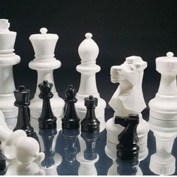 "Kettler - Large Chess Pieces - Add colossal fun to your backyard and let kings and captors(queens) meet on the battlefield of wit and intellect. The King is a mighty 25 inches tall and 10 inches wide! Ideal for outdoor play, this giant chess set is constructed of the toughest, purest all weather white and black resin available on the market. Each piece is made of 2 components that can be separated to add gravel or water for ballast. Complete your Giant Chess set with the 14 foot Game Board. Features: -Giant playing pieces, over 25 inches high! -Ideal for indoor or outdoor play, this giant chess set is constructed of tough all weather black and white resin -2 piece construction, add gravel or water to weigh the Ballast -Sturdy yet lightweight and easy to lift; perfect game for backyards, schools, recreation centers, country clubs, resorts, and camps -Polyethylene resin game pieces; 19"" pawn, 25"" king -Some adult assembly required -Game Board NOT INCLUDED -Dimensions: 25 H x 8 W x 8 D"