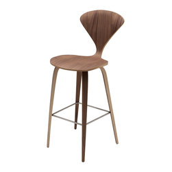 Kathy Kuo Home - Regan American Natural Walnut Modern Molded Wood Bar Stool - Rich, natural walnut is artistically molded into a modern bar stool. With an intriguing, hour-glass-shaped back and seat, the bar stool resembles a decorative sculpture. The distinctive wood grain makes each stool a unique piece of fully functional artwork.