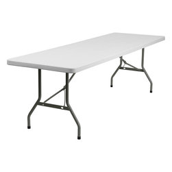 """Flash Furniture - 30""""W x 96""""L Plastic Folding Table - Commercial grade folding table that is designed to withstand the test of time! Flash Furniture's 30 in. W x 96 in. L Folding Table features a durable stain resistant blow molded top and sturdy frame. The blow molded top is super low maintenance and cleans easily. This 8 ft. table locks in place in a SNAP with the leg locking system for easy set-ups. This table can be used as a temporary seating solution or set-up in a permanent location for everyday use."""