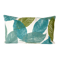 """Trans-Ocean Inc - Mystic Leaf Aqua 12"""" x 20"""" Indoor Outdoor Pillow - The highly detailed painterly effect is achieved by Liora Mannes patented Lamontage process which combines hand crafted art with cutting edge technology. These pillows are made with 100% polyester microfiber for an extra soft hand, and a 100% Polyester Insert. Liora Manne's pillows are suitable for Indoors or Outdoors, are antimicrobial, have a removable cover with a zipper closure for easy-care, and are handwashable.; Material: 100% Polyester; Primary Color: Aqua;  Secondary Colors: green, white; Pattern: Mystic Leaf; Dimensions: 20 inches length x 12 inches width; Construction: Hand Made; Care Instructions: Hand wash with mild detergent. Air dry flat. Do not use a hard bristle brush."""