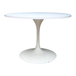 """Used Burke Mid-Century Saarinen Style Dining Table - Saarinen-style Mid-Century Modern Burke round dining table. Thick and solid tabletop with heavy metal base. Great overall condition with a few small chips at the base.    Dimensions: 42""""Diameter x 28""""High"""