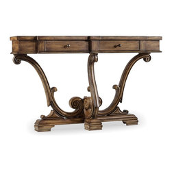 Hooker Furniture - Thin Console, Amber Sands - Like you, this console table knows how to make a grand entrance. On an ornately curvy and classic base, three scrolled arms rise to hold the top complete with drawers. Say hello to this heirloom-worthy piece.