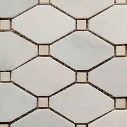 Carrara White & Crema Marfil Diamond Marble Mosaic Tile - CARRARA WHITE DIAMOND & CREMA MARFIL DOT MARBLE MOSAIC TILE