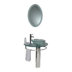 Fresca - Attrazione Glass Vanity w/ Frosted Edge Mirror Tolerus Chrome Faucet - This simply constructed jewel tone chrome stand and gently sloping tall clear glass basin are ideal for simple living with a touch of class and modern charm.  Versatile for any decor.  Quietly interesting and chic without being disruptive.