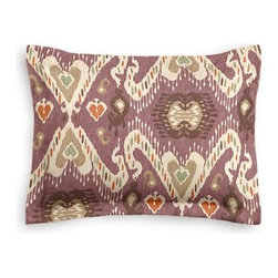 Purple, Taupe & Orange Ikat Custom Sham - The Simple Sham may be basic, but it won�۪t be boring!  Layer these luxurious reversible shams in various styles for a bed you�۪ll want to fall right into. We love it in this colorful eclectic ikat cotton print in lilac with touches of mint, orange, and beige.
