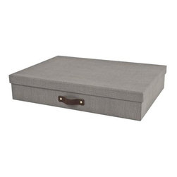 Bigso - Bigso Sutton Document Box - Canvas, Grey, Set of 2 - Our Sutton Document Boxes are big on style and sophistication. Use them to store papers, letters, receipts or artwork in the office or on your desk. With a grey textured canvas exterior and real leather pull handles, these multi-purpose covered boxes handsomely organize any space. Coordinates with our Sutton Desktop Collection.