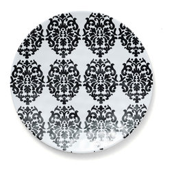 Q Squared NYC - Victorian Black Salad Plate Set/6 - Playful, intertwining leaves cascade next to chic Victorian emblem.