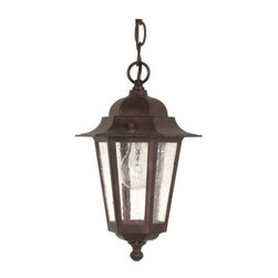 Nuvo - 1 Light - 13 in. Hanging Lantern - Clear Seed Glass - Clear Seed Shade. UL Wet Rated. Incandescent . Color/Finish: Old Bronze. Max wattage: 60w. Bulb(s) not included. 7 in. W x 12.625 in. H