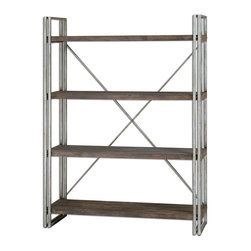 Uttermost - Uttermost Greeley Metal Etagere 24396 - Antiqued silver metal frame and cross stretchers with walnut stained, weathered fir wood shelf planks.
