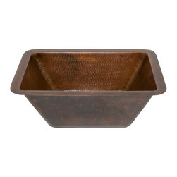"Premier Copper Products - Premier Copper Products LRECDB 17"" Rectangle Hammered Copper Bathroom Sink - Uncompromising quality, beauty, and functionality make up this Premier 17"" x 12"" Rectangular Hammered Copper Bathroom Sink with 1.5"" Drain."