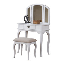 Adarn Inc. - Enchanting Tri-Folding Mirror Vanity Set Make up Table w/ Bench Drawer, White - Introducing this beautiful brand new contemporary style vanity table set. Featuring solid wood and veneer construction. This vanity has a center drawer with an antiqued bronze finish handle for storage and to keep your surface-top clutter free. A tri-folding mirror is the focal point of this vanity and can be adjusted to be able to view your face and hair from all angles. Subtly curved, tapered legs and clean lines give this table a contemporary casual vibe. Comes with a matching seat bench with a cushioned seat upholstered in patterned beige fabric. This listing is for 1 vanity table and bench only.