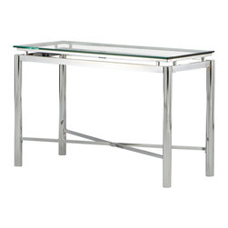 Steve Silver - Nova Sofa Table - Glass Top - Bring perfection and brilliance to your home with the Nova Sofa Table. A glass top and chrome x pattern base will make this collection your rooms centerpiece for years to come.