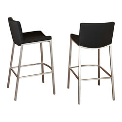 Great Deal Furniture - Bartolli Modern Design Black Barstool (set of 2) - The Bartolli Barstool fits in to any type of décor. With a clean and contemporary stainless steel frame, a convenient footrest is built in for those that come over to hang at your home bar. The seat of the Bartolli Barstool is upholstered in smooth vinyl in black color to keep you and your guests comfortable in a classy fashion. Streamline the Bartolli Barstool into your modern home and invite some friends and family over for a good meal, a glass of water, something stronger or just to hang out!