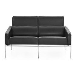 Jacobsen Series 3300 Sofa - The 3300™ series was created for the SAS Terminal at the Royal Hotel in Copenhagen, one of Arne Jacobsen's architectural masterpieces. In harmony with Jacobsen's architectural work at that time, the 3300 series is cool and formal. Furthermore, the 3300 series exudes Jacobsen's unfailing sense of line and proportion and his ability to design everlasting classics. Arne Jacobsen got the inspiration for the 3300 series from a sofa, which he had designed especially for his own home in the 1940s. The 3300 series forms an elegant contrast to the organic shapes of the Egg and Swan chairs, also designed especially for the Royal Hotel. The 3300 series consists of a 1-seater easy chair as well as a 2-seater and 3-seater sofa and is sublime for waiting and lounge areas as well as for private homes. The series 3300 is available in various types of leather and fabric upholstery and always with a chromed base.