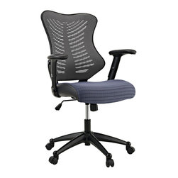 LexMod - Clutch Office Chair in Gray - Sit deeply into this form-fitting chair of distinction. With a plush waterfall padded seat and ergonomic mesh back, all aspects of your seating experience have been considered. Clutch�s unique �ribbed� pattern develops a lumbar support along your entire b