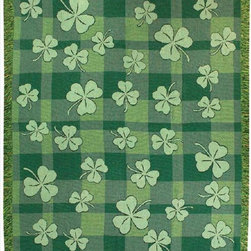 Manual - Irish Shamrock Print Tapestry Throw Blanket 50 Inch x 60 Inch - This multicolored woven tapestry throw blanket is a wonderful addition to any home. Made of cotton, the blanket measures 50 inches wide, 60 inches long, and has approximately 1 1/2 inches of fringe around the border. The blanket features a print of shamrocks against a green plaid background. Care instructions are to machine wash in cold water on a delicate cycle, tumble dry on low heat, wash with dark colors separately, and do not bleach. This comfy blanket makes a great gift for friends and family.