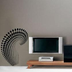 ColorfulHall Co., LTD - Polka Dot Wall Decals Modern Geometric Swirl Dora, Black - Polka Dot Wall Decals Modern Geometric Swirl Dora
