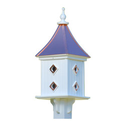 "Dovecote Birdhouse-Portals Copper/Vinyl - Architectural birdhouse adds elegant curb appeal to your place with clean lines and 28"" height from base to finial. Never a worry of rotting, cracking, splitting or fading... guaranteed!"