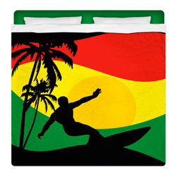 "Eco Friendly ""Surfer Mon"" King Size Sheet Set - Ya Mon! Check Out Our New Regga / Rasta ""Flavored"" Surfer Bedding and Bath Collection."