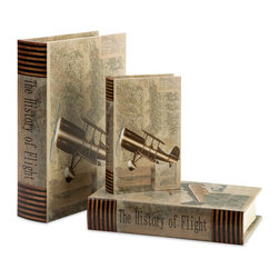 iMax - Vintage Plane Book Boxes, Set of 3 - With vintage plane imagery and topographical maps, this set of three book boxes looks great on any bookshelf or side table.