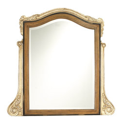 French Heritage - French Heritage Lilles Over Dresser Mirror - Modern antiquity is at its most elegant with this gorgeous maple and mahogany framed mirror. This beautifully scrolled, classic mirror would be perfect attached to the back of the Lilles Dresser, for a complete look for your bedroom.