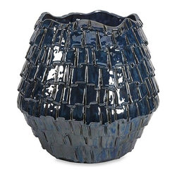 iMax - Shelton Indigo Planter - With a leather semblance, the Shelton Indigo planter's unique texture gives any space a vibrant look.