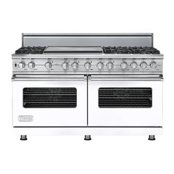 """Viking 60"""" Pro-style Dual-fuel Range, White Natural Gas   VDSC5606GWH - The 60"""" wide dual fuel model offers the ultimate in capacity, power, and performance. The 15,000 BTU gas burners are equipped with the VSH Pro Sealed Burner system, ensuring a consistent flame from the most delicate simmer to a roaring boil. The front right burner also delivers an 18,500 BTU TruPower setting."""