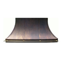 Copper range hoods - Copper range hood with brass rail