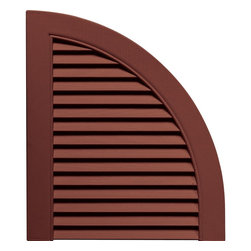 """Builders Edge - Louvered Design Quarter Round Tops in Burgund - Provides distinctive styling for standard shutters. Constructed with color molded-through vinyl so they will not scratch, flake, or fade. Durable, maintenance-free U.V. stabilized, deep wood grain texture. Made in the USA. For use with Builders Edge 15"""" Standard Louver Shutters only. 14.5 in. W x 1 in. D x 17 in. H (1.69 lbs.)"""