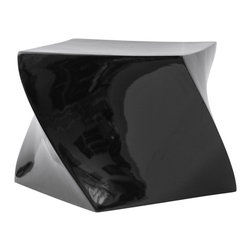 Fine Mod Imports - Contemporary Cube Ottoman (Black) - Finish: BlackSleek surfaces and flowing lines with high gloss finish. Can be used for indoors and outdoors. Warranty: One year. Made from fiberglass. No assembly required. 22 in. L x 22 in. W x 18 in. H (15 lbs.)The cube ottoman is unique.