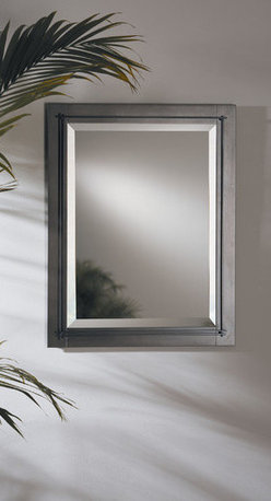 "Hubbardton Forge - Metra Beveled Mirror - In the bath, over a hall table or in the bedroom, our mirrors are simple and understated and serve as the perfect complement to our entire lighting family. Dress up your bathrooms with traditional hand-forged towel holders, with your choice of curved and straight designs in our signature natural iron finish. Features: -Mirror. -Available in mahogany, bronze, dark smoke, brushed steel, black or natural iron finish. -Rectangular shape. -Can be mounted vertically or horizontally. -Made in USA. -Overall dimensions: 28"" H x 22"" W."