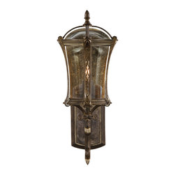 Fine Art Lamps - Gramercy Park Outdoor Wall Mount, 572281ST - Welcome family and guests to your home with this lovely light, inspired by one of New York City's most exclusive neighborhoods. An aged antique gold finish and seedy, amber-tinted glass create a charming effect.
