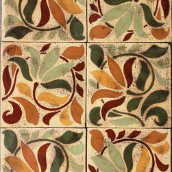 Swirl Flower - Encaustic tile is a wonderful addition to any outdoor space whether used as a pool waterline or fountain feature.