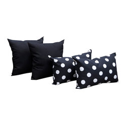Land of Pillows - Richloom Solar Black and Polka Dot Black & White Outdoor Throw Pillows - 4 Pack, - Fabric Designer - Premium Home Decor