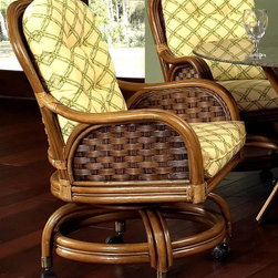 Boca Rattan - Pelican Rattan Game Chair in Royal Oak (642) - Fabric: 642A merging of bamboo and woven rattan gives this relaxed game chair a nautical inspired look that will be a charming addition to your home's decor. Perfect for card games or casual dining, the chair has a castered base and a cushioned seat and back in your choice of fabric options. Cushion included. Cross weave design. Rolling casters for easy mobility. Indoor use only. Leather bindings. Constructed from strong and durable rattan. 24 in. W x 24 in. D x 33 in. H (45 lbs.)