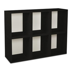 Way Basics Modular 6 Cube Tall Bookcase - Black - Stack away the clutter with the Way Basics Modular 6 Cube Bookcase Black. Just configure this set of 6 cubes any way you desire to create a stylish storage space for books, magazines, toys, or games. These eco-friendly storage cubes are easy on the planet and are manufactured with durable zBoard recycled paperboard material, making them lightweight, strong, water resistant and best of all, completely recyclable. Assembly is a snap, just peel and stick the 3M Brand adhesive strips and assemble. No tools required.About Way BasicsWay Basics is an innovator of eco-friendly furniture and has been creating a wide variety of products using recycled materials for their customers to enjoy in the home and office. Their products require no tools to assemble and are designed to add style and function to any space without leaving a heavy footprint on the environment. Way Basics also works with furniture banks and charities around the globe to help those families in need and is a founding member of the Sustainable Furnishings Council, a coalition united to promote environmentally healthy practices in the industry.
