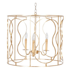Worlds Away Dallas Gold Leafed Pendant Lighting - Gold leafed iron pendant with 3 candle interior cluster. Uses 3 40w chandelier bulbs. Ships with 8' antique brass chain and canopy.