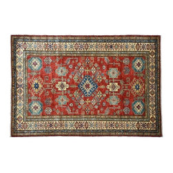Rich Red Area Rug, 4'X6' High Quality Kazak Hand Knotted 100% Wool Rug SH7909 - This collections consists of well known classical southwestern designs like Kazaks, Serapis, Herizs, Mamluks, Kilims, and Bokaras. These tribal motifs are very popular down in the South and especially out west.