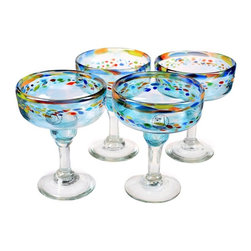 Global Amici - Global Amici Del Sol Margarita Glasses - Set of 4 Multicolor - Z7MCR661S4R - Shop for Drinkware from Hayneedle.com! You'll love serving margaritas and other mixed drinks in the elegant Global Amici Del Sol Margarita Glasses - Set of 4. Crafted form high-quality recycled glass this set of four dishwasher-safe margarita glasses has a gorgeous blue hue and a lovely ring of color around the middle. About Global Amici Inc.Global Amici was established in 1982 on the sole principle of providing outstanding houseware products to its customers at a reasonable price. Each product focuses on design functionality and beauty. No matter what the occasion Global Amici offers products that showcase style that can help transform ordinary food and everyday dining into a special presentation not to be forgotten.