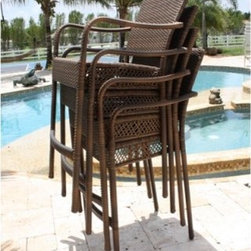 Hospitality Rattan Grenada Patio Barstool with Arms - Viro Antique Brown - Take it easy - when it comes to relaxing and when it comes to storing patio furniture at the end of the season - with the Hospitality Rattan Grenada Patio Barstool with Arms - Viro Antique Brown. The Grenada Collection has a modern, tropical feel that offers a clean look for any patio area - not to mention the convenience of all-weather wicker. Supported by an aluminum frame wrapped in high quality Viro fiber, this all-weather armless bar stool boasts a high chair back, softly curved armrests, and a comfortable footrest. Pick up more than one - they stack for super-simple, space-saving storage. Plus, the neutral antique brown finish melds with virtually any patio decor.About Hospitality Rattan Hospitality Rattan has been a leading manufacturer and distributor of contract quality rattan, wicker, and bamboo furnishings since 2000. The company's product lines have become dominant in the Casual Rattan, Wicker, and Outdoor Markets because of their quality construction, variety, and attractive design. Designed for buyers who appreciate upscale furniture with a tropical feel, Hospitality Rattan offers a range of indoor and outdoor collections featuring all-aluminum frames woven with Viro or Rehau synthetic wicker fiber that will not fade or crack when subjected to the elements. Hospitality Rattan furniture is manufactured to hospitality specifications and quality standards, which exceed the standards for residential use. Hospitality Rattan's Environmental Commitment Hospitality Rattan is continually looking for ways to limit their impact on the environment and is always trying to use the most environmentally friendly manufacturing techniques and materials possible. The company manufactures the highest quality furniture following sound and responsible environmental policies, with minimal impact on natural resources. Hospitality Rattan is also committed to achieving environmental best practices throug