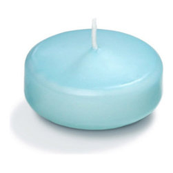 """Neo-Image Candlelight Ltd - Set of 18 - Yummi 2.25"""" Robin Egg Blue Floating Candles - Our unscented 2.25"""" Floating Candles are ideal when creating a beautiful candlelight arrangement for the home or wedding decor.  Available in 44 trendy candle colors hand over dipped with white core to match and compliment your home decor or wedding centerpiece decoration."""