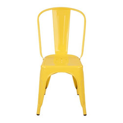 sugarSCOUT - Custom-Painted Tolix-Style High-Back Side Chair, Yellow - Go bright....go colorful.