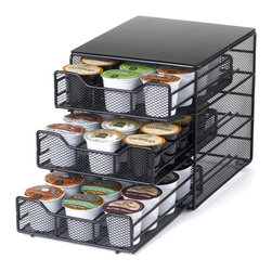Nifty - Keurig Brewed 3-tier K-Cup Drawer-36 Capacity - The Nifty 3-tiered K-Cup Drawer is a stylish, space saving way to store your favorite K-Cups. The efficient, space saving design allows you to store up to 36 K-Cups, while taking up very little of your precious counter space. The three-tier sliding drawer construction makes selecting your favorite K-Cup extremely easy. The satin black finish looks great on any kitchen countertop
