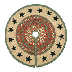 "Earth Rugs - Green Stars Printed Tree Skirt (30"" x 30"") - For the holidays, add this festive tree skirt to your Christmas tree for a decorative touch."