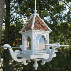 Windamere Hanging Bird Feeder - White with Red Cedar Shingle Roof - The Windamere Hanging Feeder features a natural red cedar roof and multiple perches to host a number of wild birds in your yard.