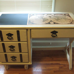 Vintage Painted Desk With Decoupage Map by Essex Cottage - I'm crazy for this vintage desk. The top is half-map, half-chalkboard, and the fixtures remind me of something you'd see on an antique trunk.