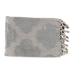 Trellis Ash Gray Throw - Beautiful detailing and a soft geometric pattern dance upon the fabric of the Trellis cotton throw, an ideal blanket to drape over the back of your sofa or occasional chair. The Trellis Throw comes in an elegant, soothing shade of grey that works well with many decor styles and makes a thoughtful gift for anyone.