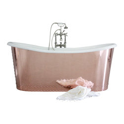"Penhaglion - 'The Woburn' 73"" Cast Iron French Bateau Tub Package from Penhaglion - Stunningly romantic and masterfully crafted, this French style stand-alone bathtub is a real showstopper. The copper exterior has been polished to reflection, and the sleek enamel interior will feel like silk to your skin. The fixtures are deep polished nickel, making every feature of this bathtub sheer elegance."