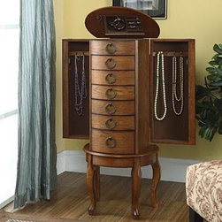 "Sears Home - ""Burnished Oak"" Jewelry Armoire - The ""Burnished Oak"" Jewelry Armoire is an elegant addition to any room. Six spacious drawers, a deep flip top storage space and two side storage cabinets concealed with doors provides ample storage for all of your bits and baubles."